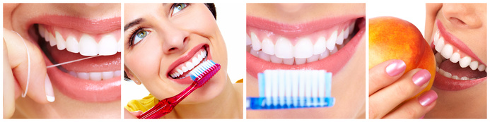 White Teeth with toothbrush. Dental health background